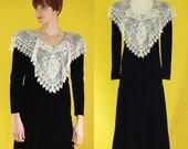 Vintage 80s Black Velvet Dress - Long Sleeve Winter Dress - 20s Style Dress - Drop Waist Dress - Cream Lace Embellished Dress - Size Small