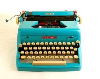 Turquoise Blue Typewriter, Royal Quiet De Luxe, 1950s