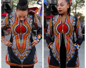 Hooded Black Dashiki Jacket/Dress