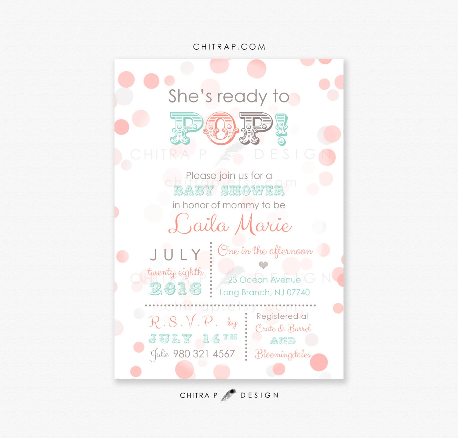 ready to pop baby shower invitations printed coral mint