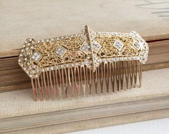art deco comb,art deco headpiece,large, Gold hair Comb, Bridal hair comb,filigree, gold crystal rhinestone