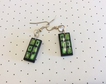 Shades of Green Squares Polymer Clay Earrings Handmade