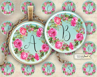 Sweet Initials - color - circles image - digital collage sheet - 1 x 1 inch - Printable