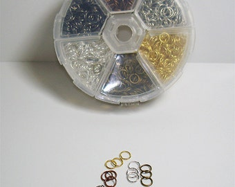 Jump Ring Assortment Organizer / Assortment of 6 Different  Finishes in one Organizer/Approx. 1800 Pcs.//Offered by Color Kissed Silk LLC.