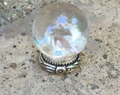 Clear Crystal Ball w Antique Silver Round Base - Dollhouse Miniature (CB7)