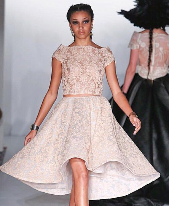Irina Shabayeva Lace Applique top with lace applique skirt. Comes in custom colors ..