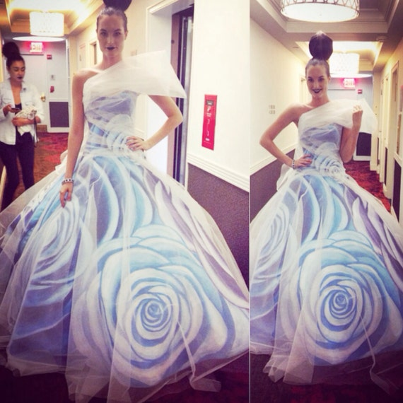 """IRINA SHABAYEVA COUTURE hand painted """"Blue rose gown"""" comes in custom colors"""