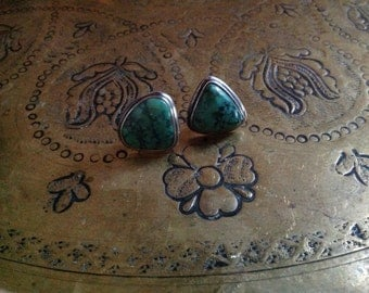Large Antique-Tibetan Green Turquoise Ear Studs Sterling Silver