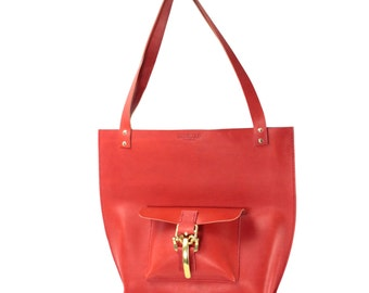 Strawberry red Italian vegetable tanned leather Tote made in NY
