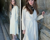 HALSTON Ultra Suede DRESS COAT Vintage 70s Modern Medium Size Women's Classic Creamy White Butter long length Duster Jacket Wrap Belt Trench