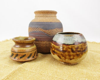 Your Choice - Three Vases in Different Sizes - Open Mouth Vases - Take One or All - Art Pottery - Studio Pottery - Great Colors