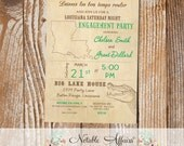 Cajun Style Vintage Louisiana Alligator Baby Shower Bridal Shower Engagement Party etc invitation - choose your accent font color only