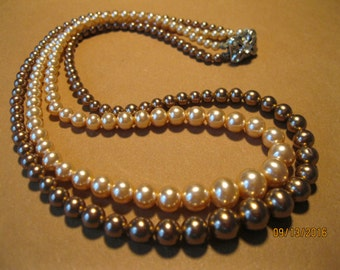 1950s pearls double strand 2 color rhinestone clasp 15 inch