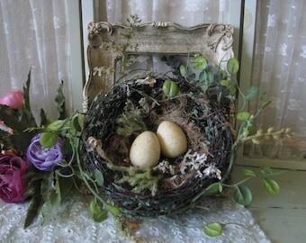 Shabby Vintage Metal Frame with 2 Eggs Nest Wedding Centerpiece Shabby Wedding Decor
