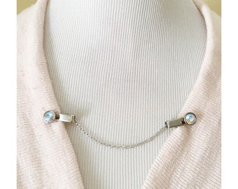 Sweater Guard Cardigan Clip Collar Clip Vintage Inspired Retro Dainty Silver Jewelry - Bridgette