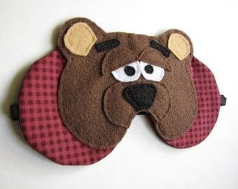 Teddy Bear sleep mask , bear face sleep mask, adjustable strap, eye mask
