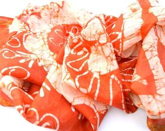 Long Batik Scarf, Orange Silk Scarves, Handmade Wrap, Indian Ivory Floral Tropical Wax Print Tribal Festival Hippie Gypsy Boho Bohemian