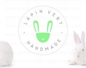 OOAK Premade Logo Design - Green Rabbit - Perfect for a handmade home decor shop or an original underwear brand