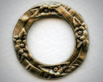 Floral Flat Porthole Settings Ox Brass  28mm with  Center Opening 18mm - (2) Great for Layering