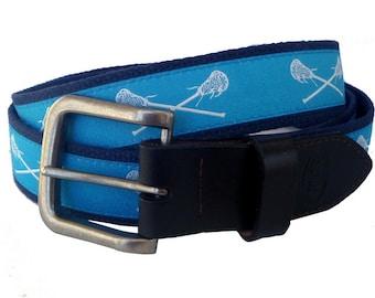 Carolina Blue Lacrosse Belt / Leather Belt / Canvas Belt / Preppy Webbing Belt for Men, Women and Children/Light Blue Lacrosse