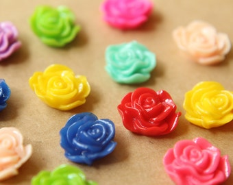 CLOSEOUT - 20 pc. Multi Color Ruffle Rose Cabochons 13mm x 11mm | RES-580