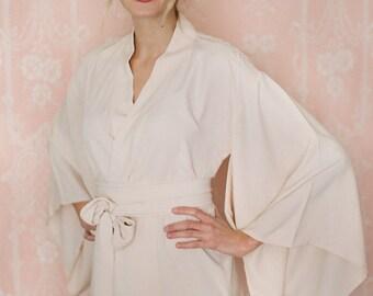 """One """"Noguchi"""" kimono robe in faux silk crepe de chine. Faux silk kimono robe Champagne kimono robe Bridal lingerie Bridal robe Bridal kimono"""