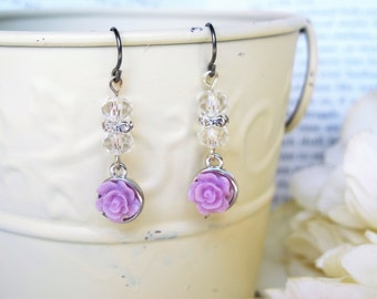 Purple Rose Drop Earrings, Beaded Dangle Earrings, Niobium Earrings, Hypoallergenic Earrings, Dangle Earrings