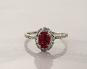 Very Rare - Oval Padparadscha Sapphire Diamond Halo Engagement Ring in 14K White Gold