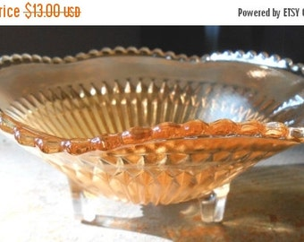 ON SALE Vintage Candy Dish, Carnival Glass, Bowl, Footed