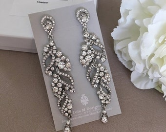 SALE - Bridal chandelier earrings, wedding jewelry, rhinestone chandelier earrings, bridal jewelry, Crystal earrings wedding earrings