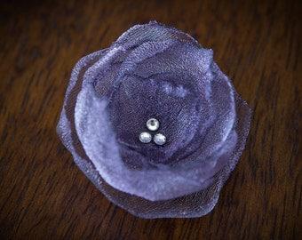 FLOWER HAIR CLIP with Swarovski crystals - Chinese Violet Organza