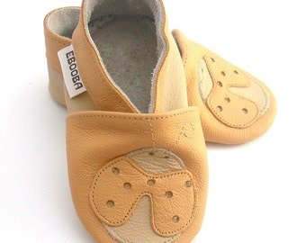 soft sole baby shoes infant kids children ladybird yellow beige  18-24m ebooba 12-4