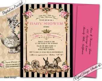 alice in wonderland baby shower invitation in wonderland baby showermad hatter