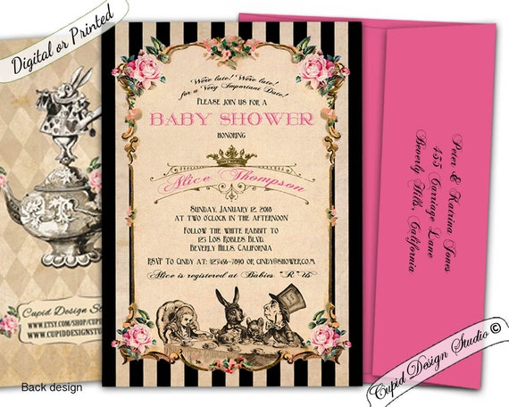 Alice in wonderland baby shower invitation printable