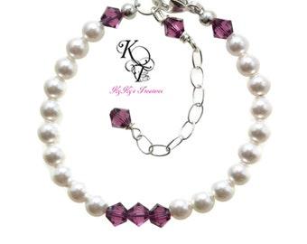 Baby Bracelet, Birthstone Bracelet, New Baby Gift, Baby Gifts, Birthstone Jewelry, Little Girl Jewelry, Girls Jewelry, Cute