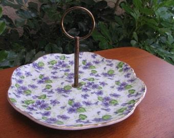 Vintage Lefton Violet Chintz Round Serving Plate with Handle NE 651V-N - Endo Toki K.K. Japan
