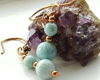 Larimar Earrings, 8 mm Beads, 6 mm Beads, Copper, Dangle and Drop Earrings, Round Beads, Gemstones, Handmade, Pure Copper Ear Wires,