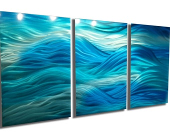 Metal Wall Art Decor Abstract Aluminum Contemporary Modern Sculpture Hanging Zen Textured - Caribbean 47""