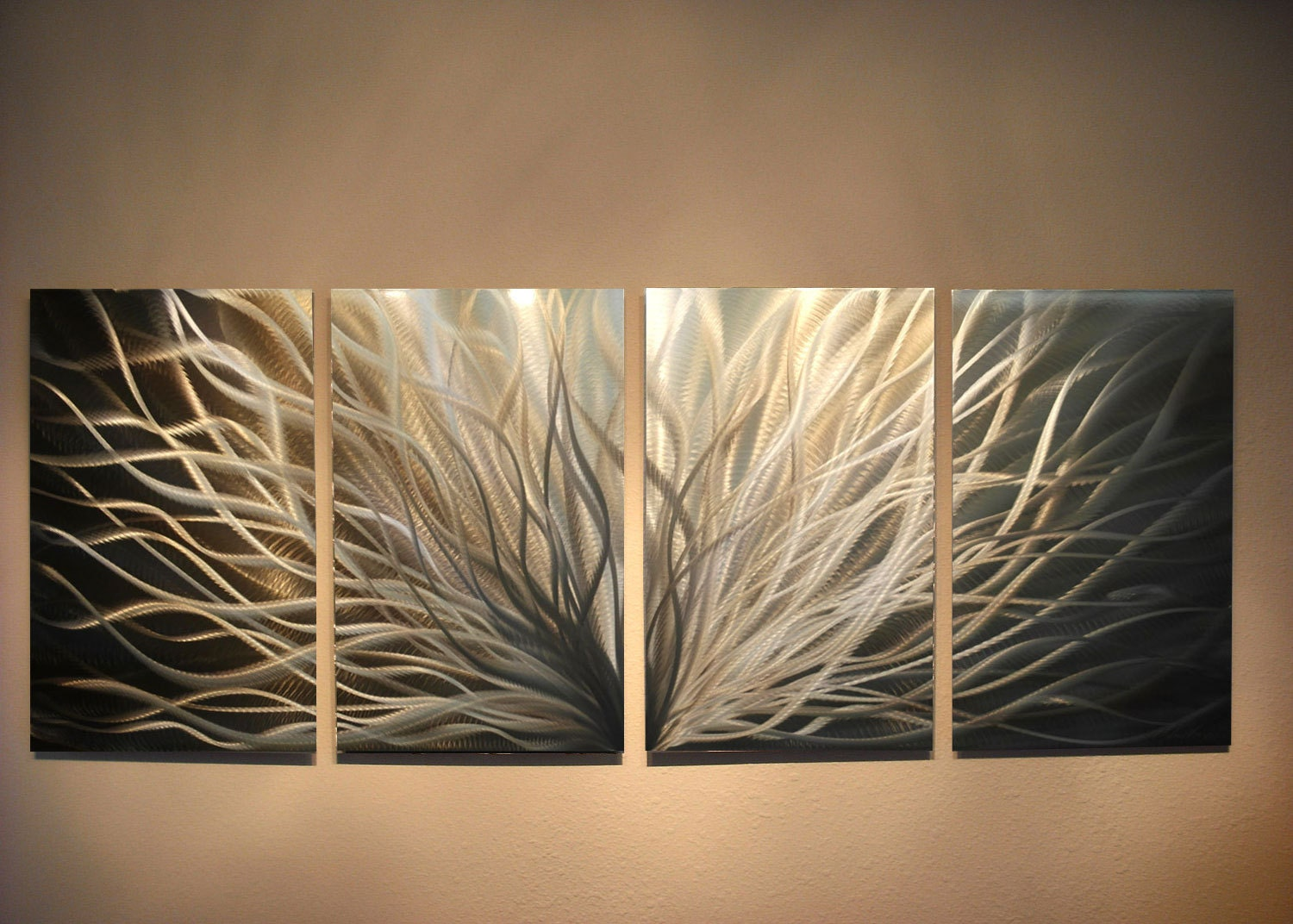 Metal art wall art decor aluminum abstract contemporary modern for Contemporary wall mural