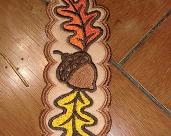 Embroidered Bookmark - Fall Leaves & Acorn