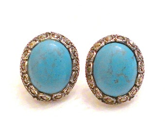 Sterling Silver Turquoise Marcasite Post Earrings