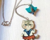 Reserved for Amanda - My navy cat loves summer , Cat pendant, cat necklace, summer,summer pendant, summer necklace, navy,