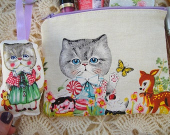 Every  kitten loves nature  - Sweet cat wallet with an adorable matching mini cat doll key chain, zipper wallet,cosmetic wallet