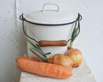 Vintage Blue Trim White Enamel Stock Kettle Pot