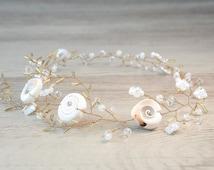 Mermaid Sea Shell Crown Sea Shell Flower Hair Vine Beach Wedding Crown Sea shell headpiece Bridal headband nautical wedding Seashell crown