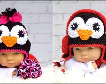 Crochet  Penguin hat. Made to Order