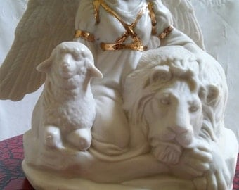 Hand created Porcelain Angel with Lion and Lamb made by me