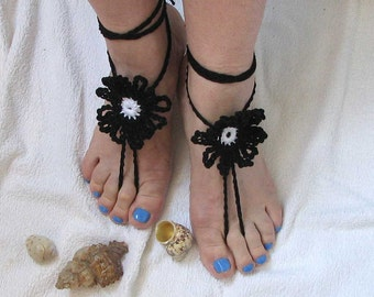 Ladies  Barefoot Sandals-  crochet barefoot sandals-Bridal Foot jewelry-Beach wedding barefoot sandals-Lace shoes-Beach wedding sandals