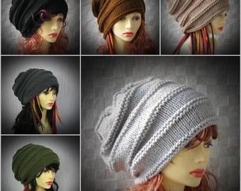 Dreadlock Tam Winter Hat, Chunky Beanie, Large Beanie , Oversized Beanie ,Slouchy Dreadlock hat , Women Knit Hat Hand Knit Hat