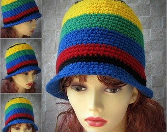 Striped bucket hat, crocheted bucket hat, rasta bucket hat, Trendy Hat, Women Crochet Hat